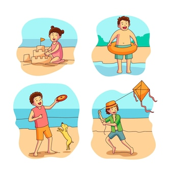 Sammlung von kindern am strand