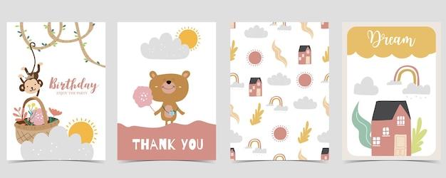 Sammlung von kinderpostkartenset mit bär, regenbogen, sonne. editierbare vektorgrafik für website, einladung, postkarte und aufkleber