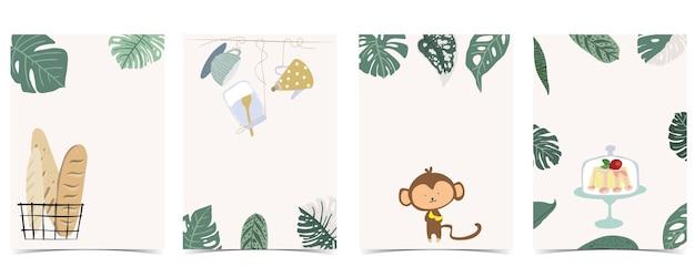 Sammlung von kinderpostkartenset mit blatt, affe, kuchen. bearbeitbare vektorgrafik für website, einladung, postkarte und aufkleber