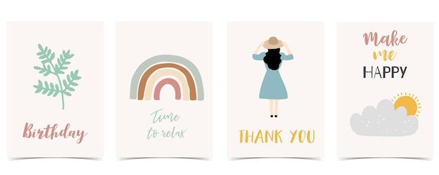 Sammlung von kinderpostkartenset mit blatt, regenbogen, sonne. editierbare vektorgrafik für website, einladung, postkarte und aufkleber