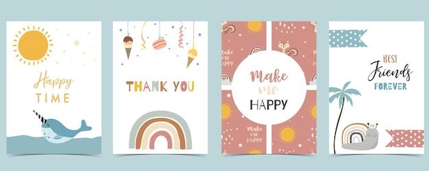 Sammlung von kinderpostkartenset mit narwal, regenbogen, sonne. bearbeitbare vektorgrafik für website, einladung, postkarte und aufkleber