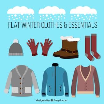 Sammlung von kleidung und winterzubehör