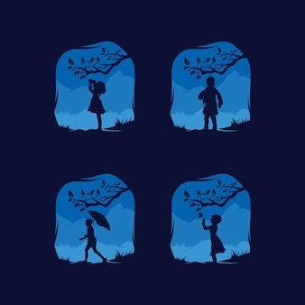 Sammlung von kleinen kind erreichen träume illustration