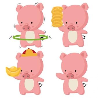 Sammlung von kleinen schweinchen