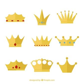 Sammlung von königskronen mit flachem design