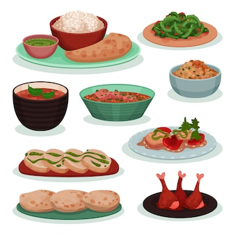 Sammlung von köstlichen indischen lebensmitteln, thali, grünen bohnen auf weizentortilla, tandoori, roti illustration auf einem weißen hintergrund