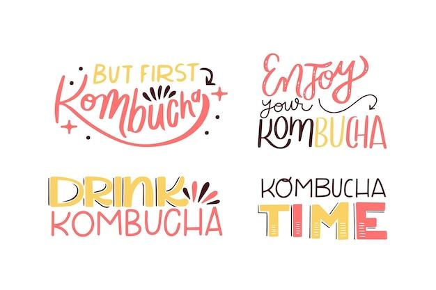 Sammlung von kombucha-tee-schriftzug