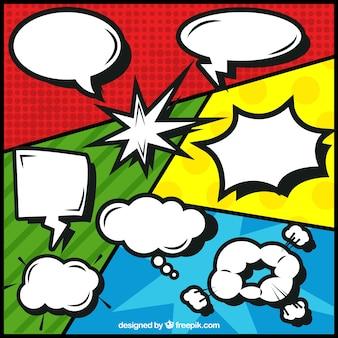 Sammlung von komischen sprechblasen mit vignetten