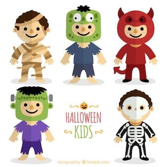 Sammlung von kostümierten kinder