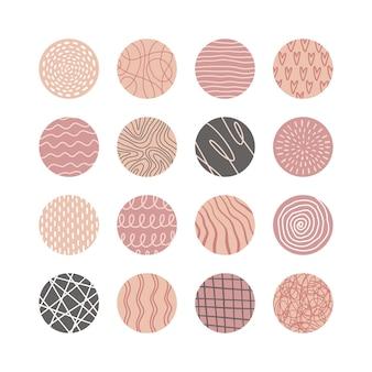 Sammlung von kreativen abstrakten geometrischen social-media-highlight-covern. design-geschichten runde symbolsammlung. flecken, wellen, streifen, spiralen, punkte, linien, karos und andere muster. vektor-illustration
