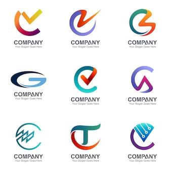 Sammlung von kreativen kombinationsbuchstaben c logo