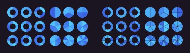 Sammlung von kreisdiagrammen, die in teile oder sektoren unterteilt sind
