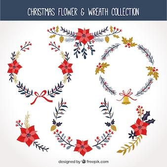 Sammlung von kronen und floralen weihnachtsschmuck