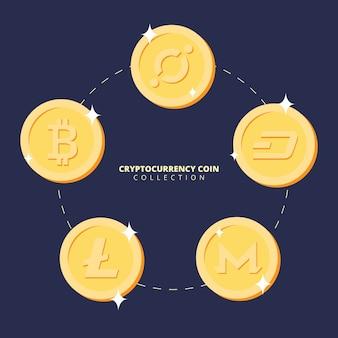 Sammlung von kryptowährungs-münzen