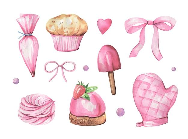 Sammlung von kuchen und küchenartikeln