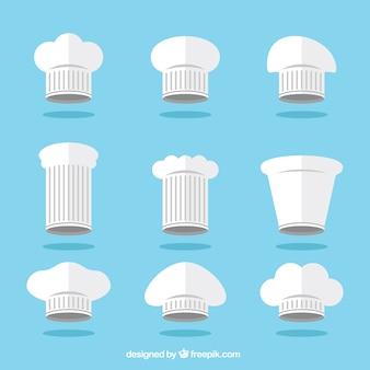 Sammlung von küchenhut in flachem design