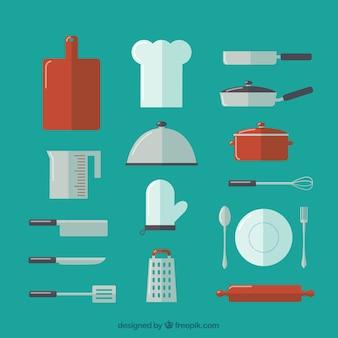 Sammlung von küchenutensilien und chef hut