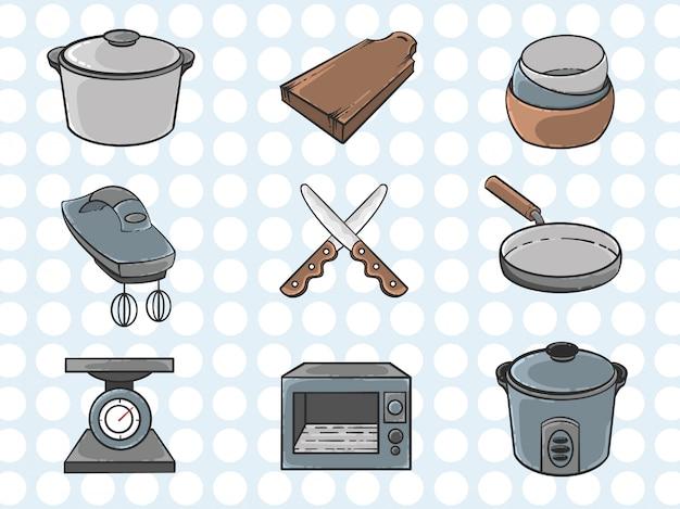 Sammlung von küchenwerkzeugen in der hand gezeichnet