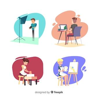 Sammlung von künstlern bei der arbeit