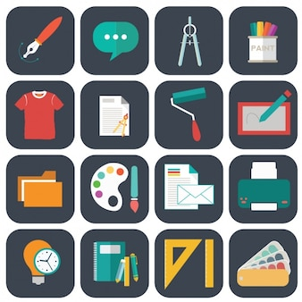 Sammlung von kunst flache ikonen