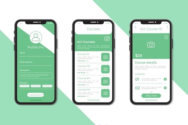 Sammlung von kurs-app-vorlagen