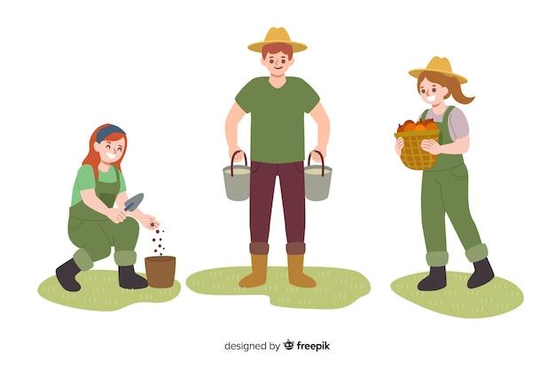 Sammlung von landarbeitern dargestellt