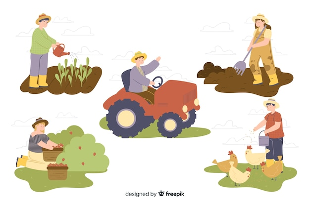 Sammlung von landarbeitern