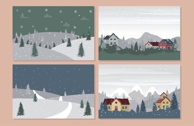 Sammlung von landschaft winterlandschaft