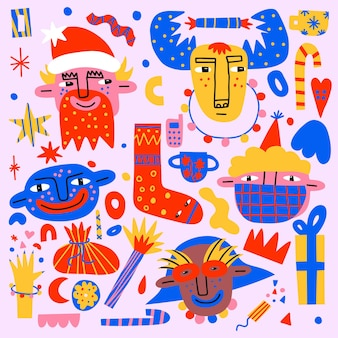 Sammlung von lebendigen bizarren weihnachtsaufklebern