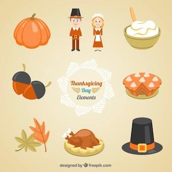 Sammlung von lebensmitteln und traditionelle thanksgiving-kleidung