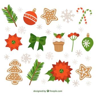 Sammlung von lebkuchen und weihnachtsschmuck