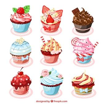 Sammlung von leckeren cupcakes