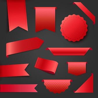 Sammlung von leeren roten band-bannern. tags und etiketten für jedes promotion-design.