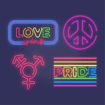 Sammlung von leuchtreklamen für pride day event