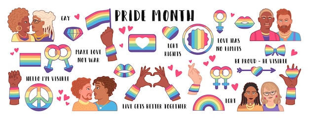 Sammlung von lgbtq-gemeinschaftssymbolen mit stolzflaggen, geschlechtszeichen, regenbogen. pride-monat-konzept. gay-parade-symbole. lgbtq-icon-set. . vektor lokalisierte illustration für homosexuelle paare.