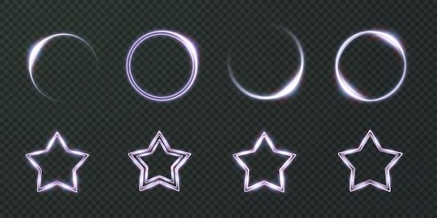 Sammlung von lichtstern-neon-rahmen kreis ovaler stern