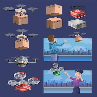 Sammlung von lieferdrohnen mit kisten und medizinischem set. satz drohnen. moderne roboterliefermethoden. isoliert.