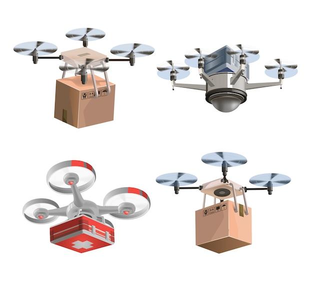Sammlung von lieferdrohnen mit kisten und medizinischem set. satz drohnenillustrationsgrafikdesign. moderne roboterliefermethoden. isoliert