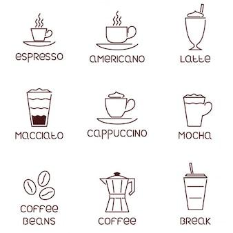 Sammlung von linearen kaffee-symbole mit beschreibungen