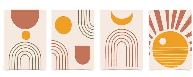 Sammlung von liniendesign mit sonne. bearbeitbare illustration für website, aufkleber, tätowierung, symbol