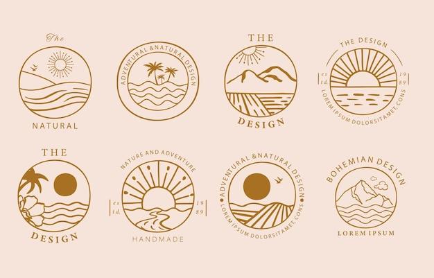 Sammlung von liniendesign mit sonne, berg. bearbeitbare vektorgrafik für website, aufkleber, tätowierung, symbol