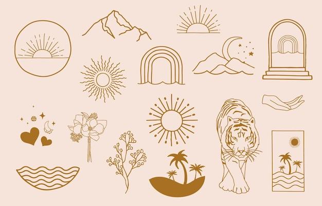 Sammlung von liniendesign mit sonne, meer, welle. bearbeitbare vektorgrafik für website, aufkleber, tätowierung, symbol
