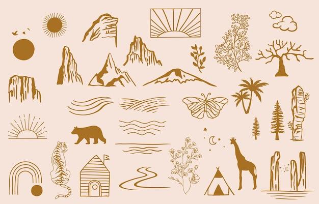 Sammlung von liniendesign mit sunseawavebearbeitbare vektorgrafik für website-aufkleber tattooicon