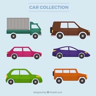 Sammlung von lkw und autos in flaches design