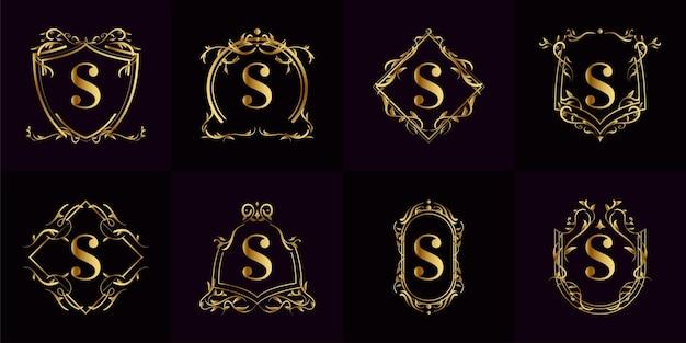 Sammlung von logo initial s mit luxusverzierung oder blumenrahmen