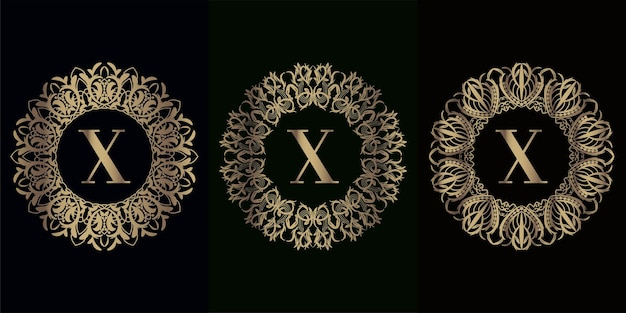 Sammlung von logo initial x mit luxus-mandala-ornamentrahmen