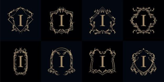 Sammlung von logo initiale i mit luxusverzierung oder blumenrahmen