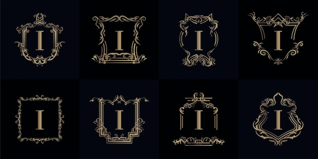 Sammlung von logo initiale i mit luxusverzierung