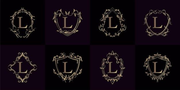 Sammlung von logo initiale l mit luxusverzierung oder blumenrahmen