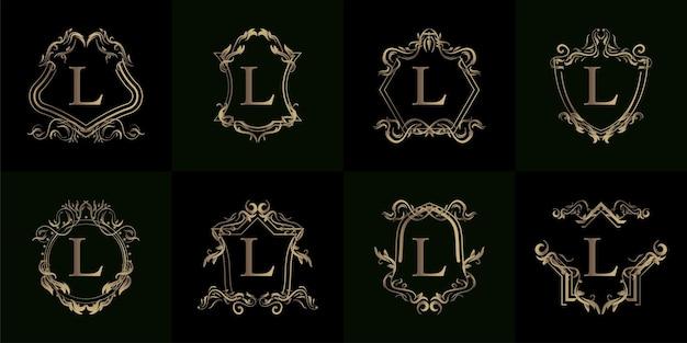 Sammlung von logo-initialen l mit luxuriösem ornament oder blumenrahmen